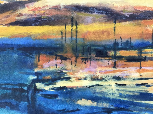 Francis Bowyer Sunset on the Blyth watercolour & bodycolour Frame: 38 x 44 cm Artwork: 17 x 25 cm