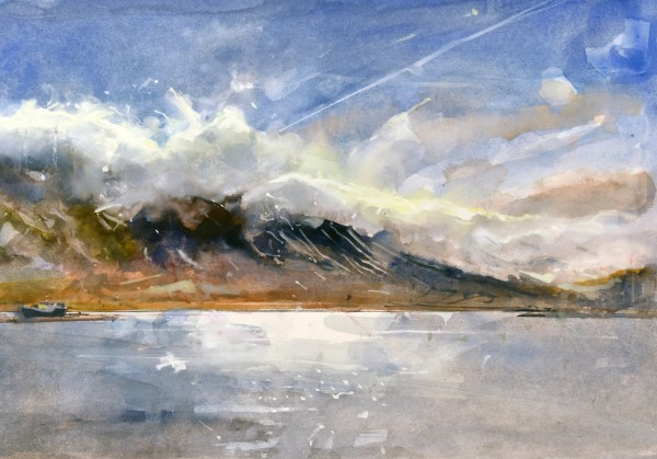 Richard Pikesley Last of the Snow, Siglofjordur, Iceland watercolour Frame: 56 x 70 cm Artwork: 35 x 50 cm