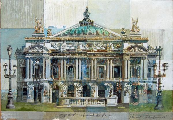 Stuart Robertson Paris Opera House watercolour Artwork: 23 x 33 cm Frame: 44 x 54 cm
