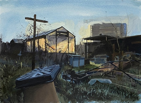 Paul Regan Allotment XI. Morning Light. acrylic on paper Frame: 36 x 46 cm Artwork: 28 x 38 cm