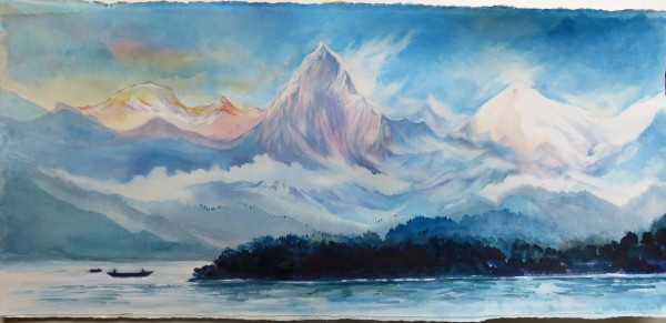 Neil Pittaway The Annapurnas from Phewa Lake at Pokhara Nepal watercolour Frame: 51 x 93 cm Artwork: 30 x 76 cm