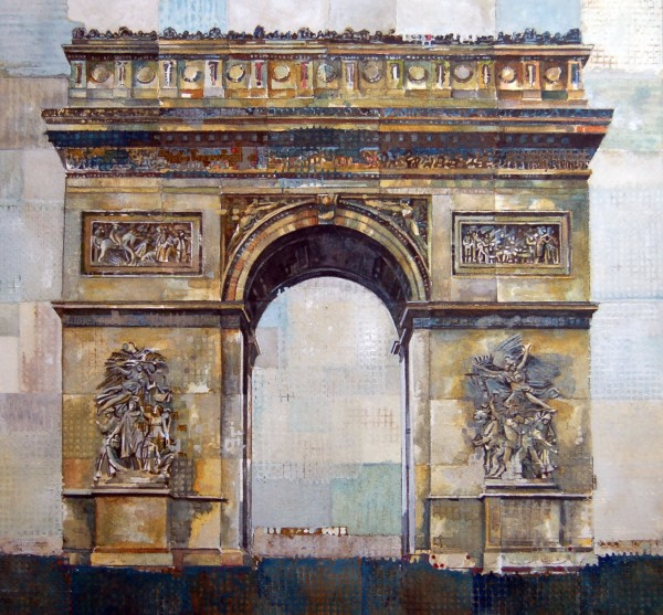 Stuart Robertson Arc de Triomphe watercolour, silver leaf & charcoal Artwork: 29 x 28cm