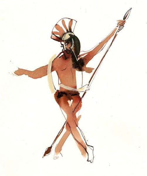 Julia Midgley Dancing Roman watercolour & ink Frame: 35 x 45cm Artwork: 26 x 30cm
