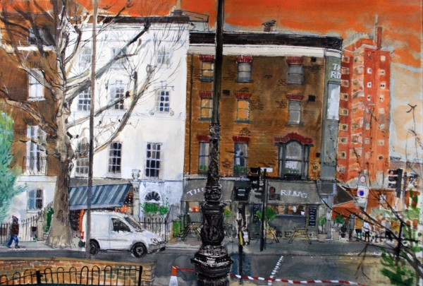 Peter Quinn Blackfriars Road, London watercolour 60x77cm