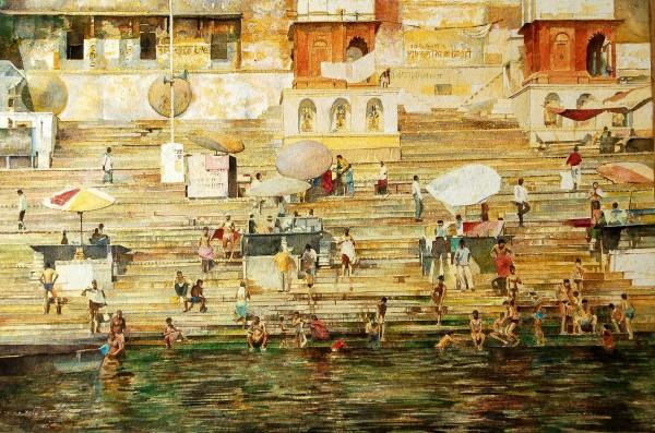 Stuart Robertson Varanasi Bathers watercolour 83x11cm