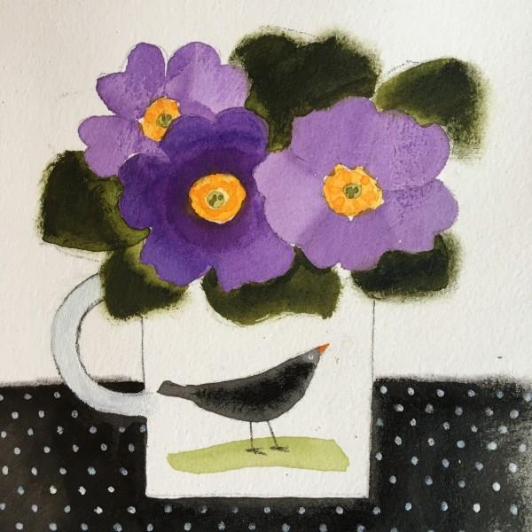 Jill Leman Flowers and Blackbird watercolour & acrylic Frame: 31 x 31 cm Artwork: 15 x 15 cm