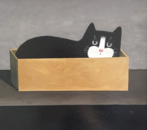 Martin Leman Cat in the Box oil on board Frame: 38 x 40 cm Artwork: 23 x 26 cm