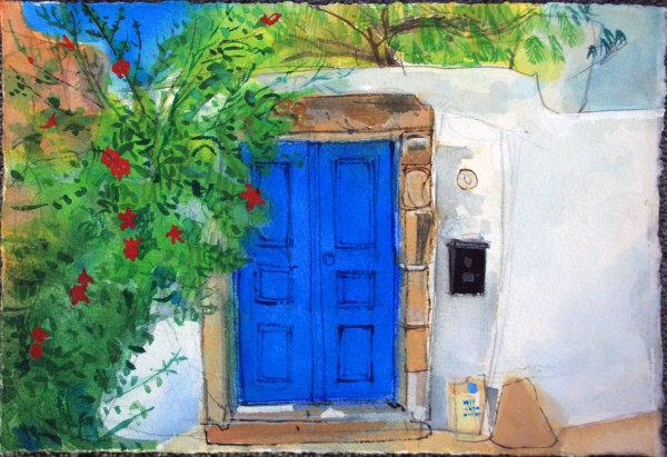 Peter Quinn The Blue Door, Crete watercolour 30x40cm