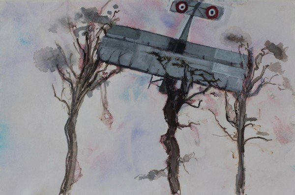 David Hamilton Les Platanes watercolour, gouache & ink Frame: 30 x 40 cm Artwork: 16 x 24 cm