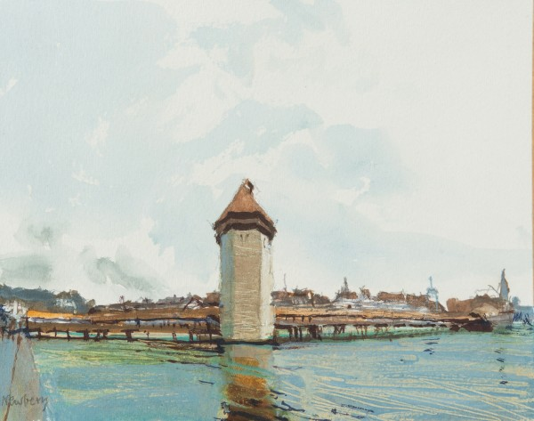 John Newberry Wassersturm, Lucerne, Switzerland watercolour Frame: 34 x 41 cm Artwork: 15 x 19 cm