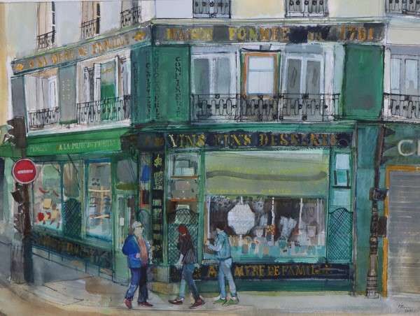 Peter Quinn Vins Fins Desserts, Paris watercolour on paper Artwork: 53 x 39cm