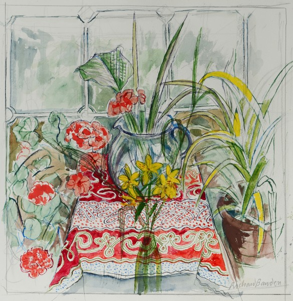 Richard Bawden Red and Yellow watercolour
