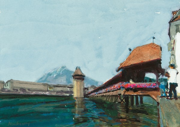 John Newberry Chapel Bridge with Tourists, Lucerne, Switzerland watercolour Frame: 34 x 41 cm Artwork: 15 x 21.5 cm