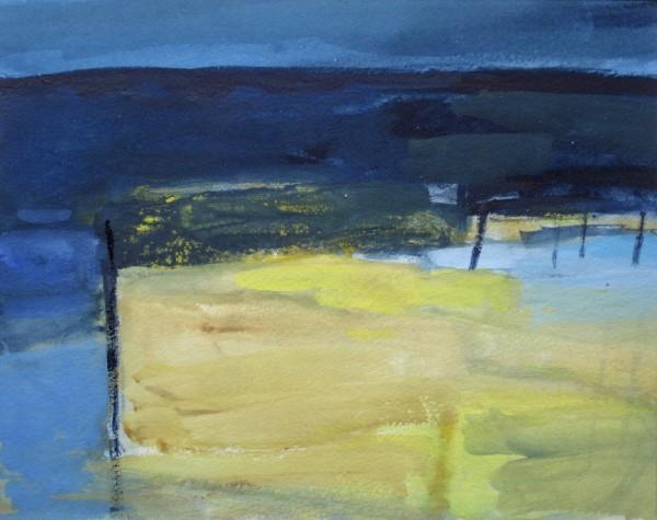 Salliann Putman Yellow Field watercolour & gouache Frame: 36 x 42 cm Artwork: 20 x 25 cm