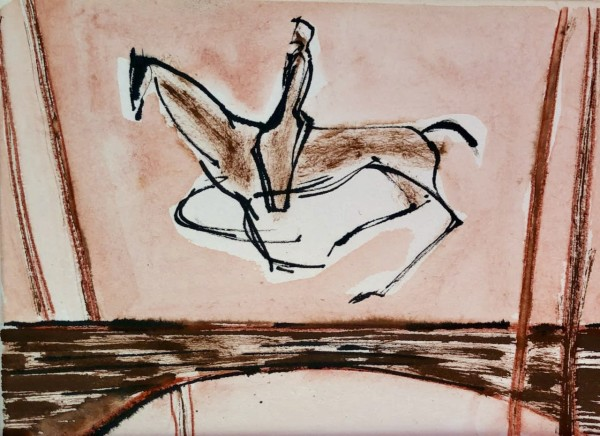 Julia Midgley Bibemus Bridge watercolour & ink Frame: 30 x 40cm Artwork: 20 x 14cm