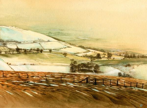 Liz Butler View from Moel Famau in the Snow watercolour Artwork: 22 x 16.5cm