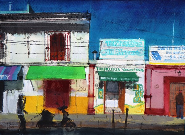 Peter Quinn Tortilleria, San Cristobal, Chiapas, Mexico watercolour Frame: 50 x 60 cm Artwork: 28 x 38 cm