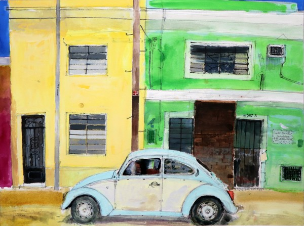 Peter Quinn VW Beetle, Mérida, Yucatán, Mexico watercolour Frame: 78 x 97 cm Artwork: 51.5 x 69 cm