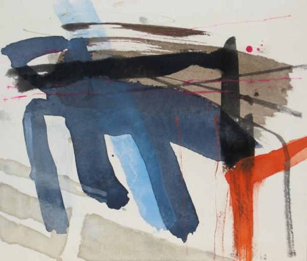 Jane Lewis Furrowed Fields watercolour 30x35cm