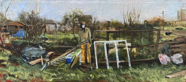 Paul Regan Allotment VII. Mannequin. acrylic on paper Frame: 26 x 49 cm Artwork: 18 x 41 cm