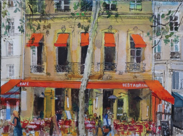 Peter Quinn Cafe Restaurant Paris watercolour on paper Artwork: 38 x 28cm