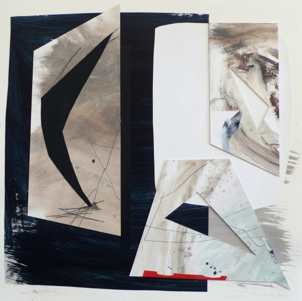 Lisa Traxler The Edge Between Night and Day acrylic, thread & collage 72x72cm