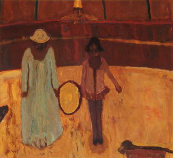 Bridget Moore Hoop gouache Frame: 36 x 37 cm Artwork: 20 x 22 cm