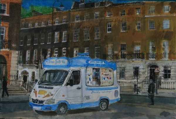 Peter Quinn Ice Cream Van, Russell Square, London watercolour 60x77cm