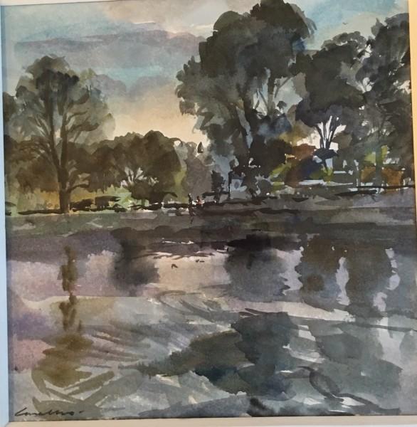 Jane Corsellis River Reflections, Chiswick watercolour 46x41cm