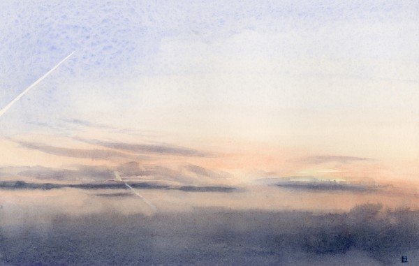Liz Butler Vapour Trails over the Severn Estuary watercolour Frame: 30 x 40 cm Artwork: 15.5 x 24 cm