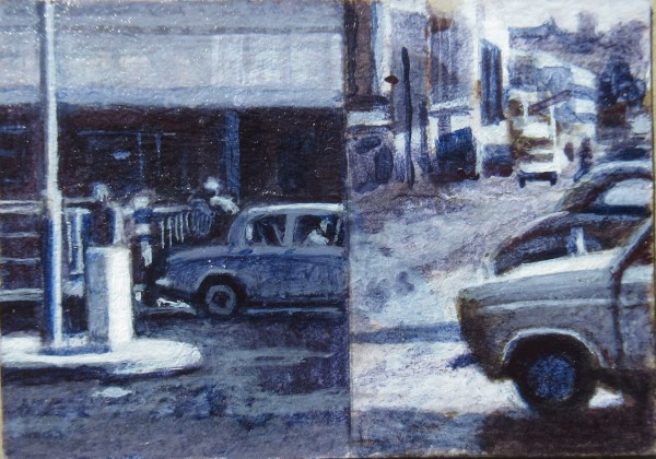 Mike Middleton City Scene acrylic on card Frame: 18 x 20 cm Artwork: 4 x 7 cm