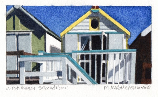 Mike Middleton West Mersea Second Row watercolour 30x27cm