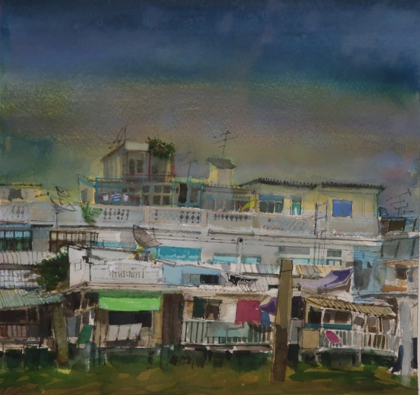 Peter Quinn Bangkok Riverside watercolour on paper Frame: 48 x 51 cm Artwork: 33 x 35 cm