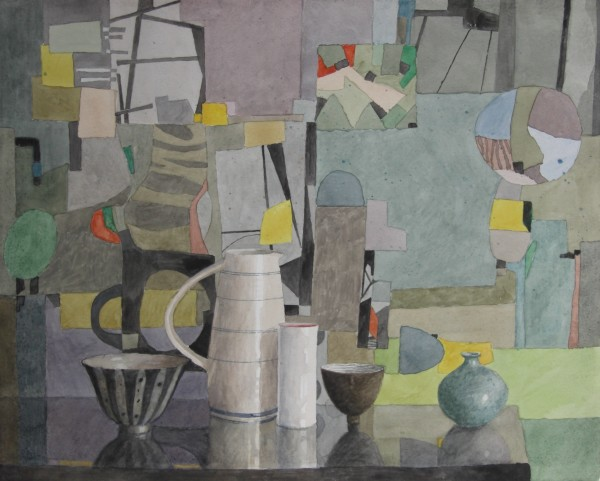 Annie Williams Still Life with a Paul Bradley Jug watercolour 58x67cm