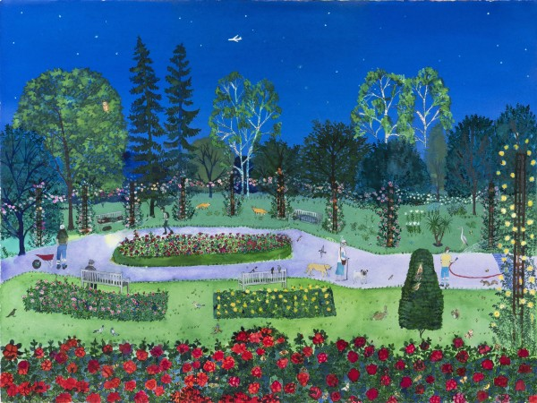 Emma Haworth Rose Garden at Night watercolour Frame: 72 x 90 cm