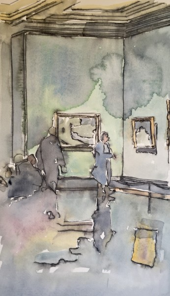Thomas Plunkett National Portrait Gallery Interior III ink & watercolour Frame: 53 x 43 cm Artwork: 42 x 29 cm