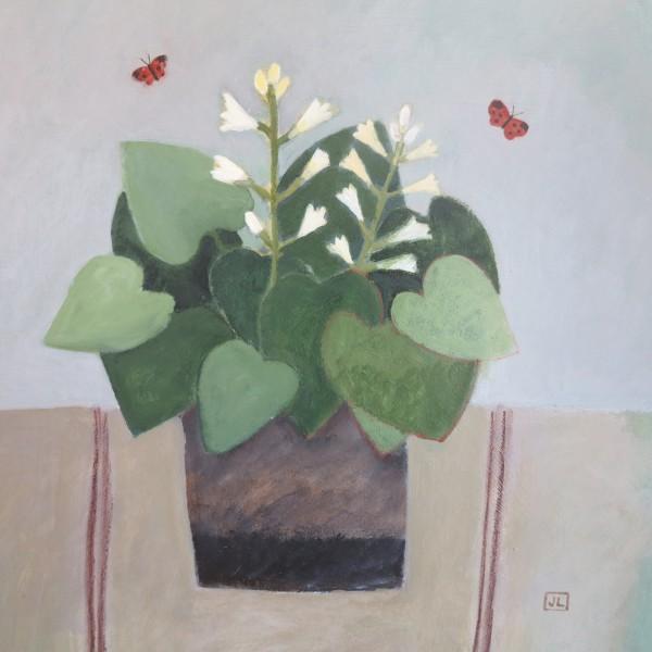 Jill Leman Hosta and Butterflies acrylic Frame: 46 x 46 cm Artwork: 30 x 30 cm