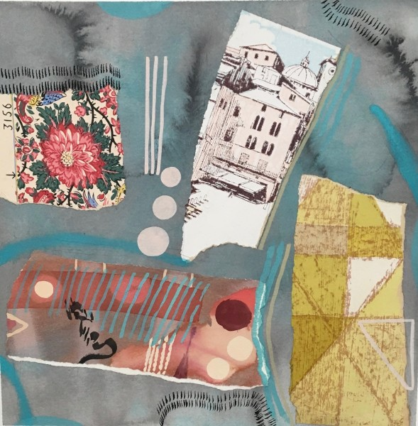 Chloe Fremantle Nostalgia with Blue Oval 22 gouache & collage Frame: 49 x 49 cm Artwork: 35 x 35 cm
