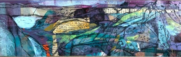Mark Raggett From Porth y Rhaw mixed media on paper Frame: 26 x 43 cm Artwork: 9.5 x 27 cm