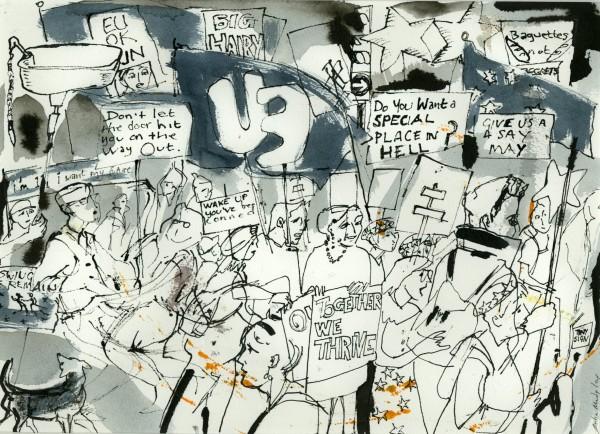 Julia Midgley March ink & wash Frame: 45 x 55 cm Artwork: 28 x 37 cm
