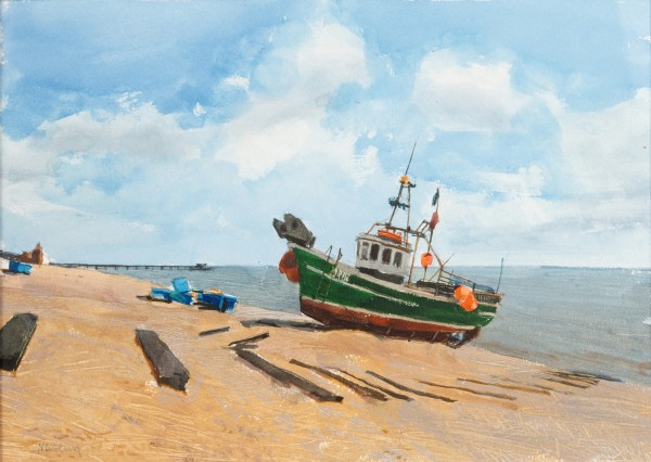 John Newberry Fishing Boats, Walmer Beach watercolour Frame: 41 x 54 cm Artwork: 23 x 32 cm