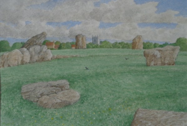 David Payne Church and Stones, Stanton Drew watercolour
