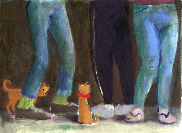 Charles Williams Legs and Dogs acrylic & gouache 46x56cm