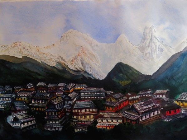 Neil Pittaway Ghandruk in the Shadow of the Nepal Annapurnas watercolour Frame: 72 x 90 cm Artwork: 52 x 72 cm