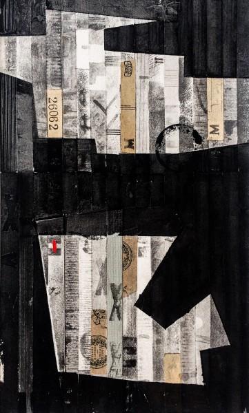 Stuart Robertson Miles Van Dee Rohe watercolour collage Frame: 42 x 40 cm Artwork: 23 x 23 cm