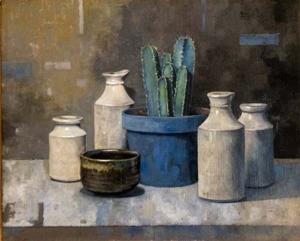 Stuart Robertson Still Life with Cactus oil Frame: 22 x 27 cm Artwork: 19 x 24 cm