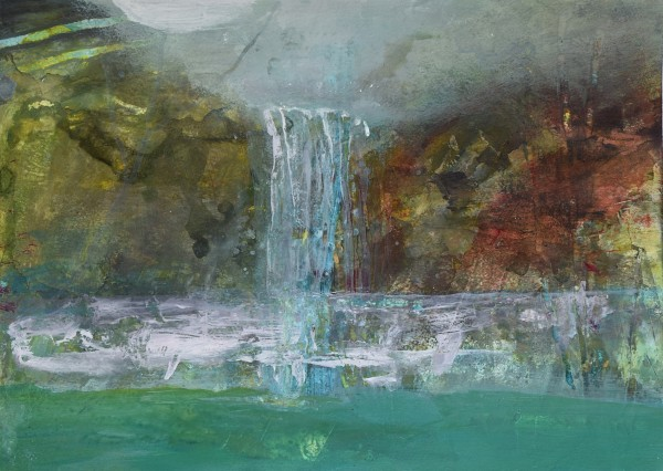 Robin Richmond Kuang Si Waterfall, Laos watercolour & acrylic Frame: 42 x 52 cm Artwork: 29 x 38.5 cm