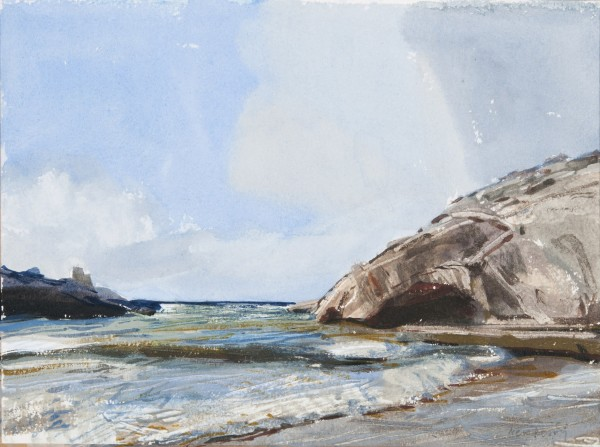 John Newberry Waves at Xlendi Bay, Gozo watercolour Frame: 40.5 x 34cm Artwork: 23 x 16cm