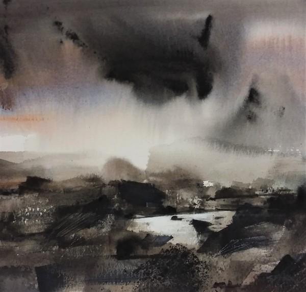 Sue Howells Rainy Days and Mondays watercolour 50x50cm