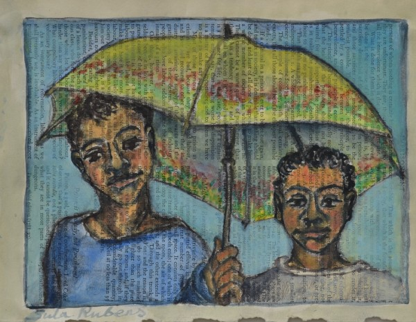 Sula Rubens Kin Study - Two Children and Umbrella watercolour on book paper Frame: 39 x 45 cm Artwork: 18.5 x 24.5 cm